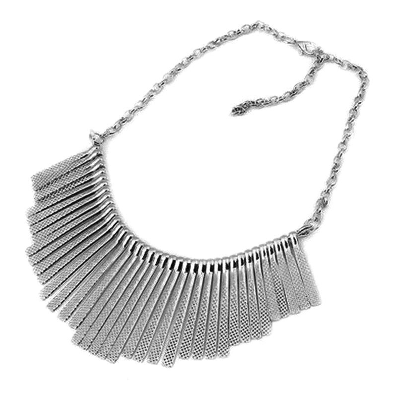 Fashion jewelry Collar Necklace Metal Multilayer Chain Tassel Choker Bib False Gold silver necklace for lady Women