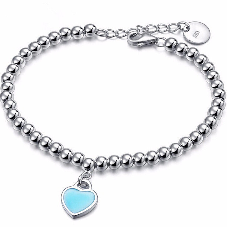 Fashion sliver plated simple heart shape Bracelets for Women party and christmas gift Beads ID Bracelets & Bangles For Women