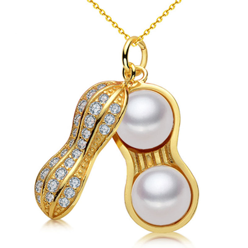 Fashionable Double Pearl Peanut Pendant Necklaces For Women S925 Sterling Silver Zircon Jewelry Rose gold Plated Jewelry