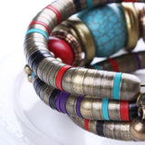 Fashions Bracelets Bangles For Women Tibetan Silver Bracelets&BanglesTurquoise Inlay Roundness Bead Adjust Bangle