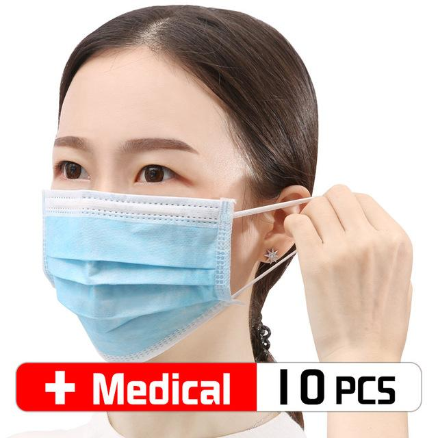 10 Pcs/bag Disposable Face Medical Masks Surgical 3-Ply Nonwoven 10/30/50 PCS Elastic Mouth Soft CE Flu Hygiene Face