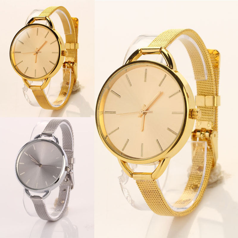 Fashion Luxury Band Watch Women Stainless Steel Strap Golden Watch Women Dress Watches quartz bracelet Wristwatches Hour