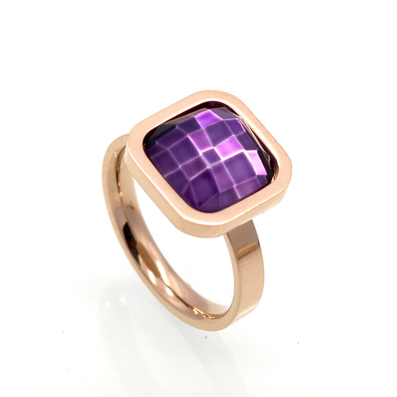 Fine Jewelry Stainless Steel Ring Colorful Crystal Ring For Woman Party Jewelry Size 6-9 Top Quality Luxury Square Finger Ring