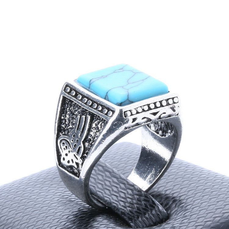 Fine Jewelry 925 Sterling Silver Turquoise Ring Gorgeous Lord Of The Rings For Men New Fashion Engagement Ring