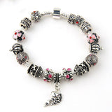 Fish Charm Chamilia Bracelet 925 Tibetan Silver Murano Glass For Women Fashion European Style Jewelry
