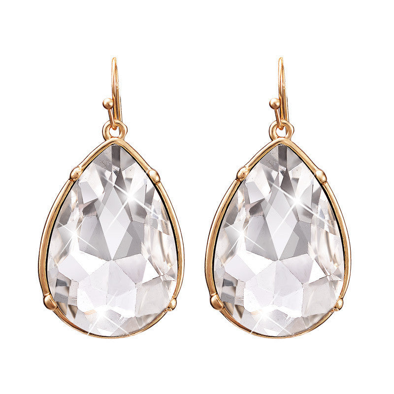 New Arrival Fashion Women Shiny Big Crystal Water Drop Statement Earring