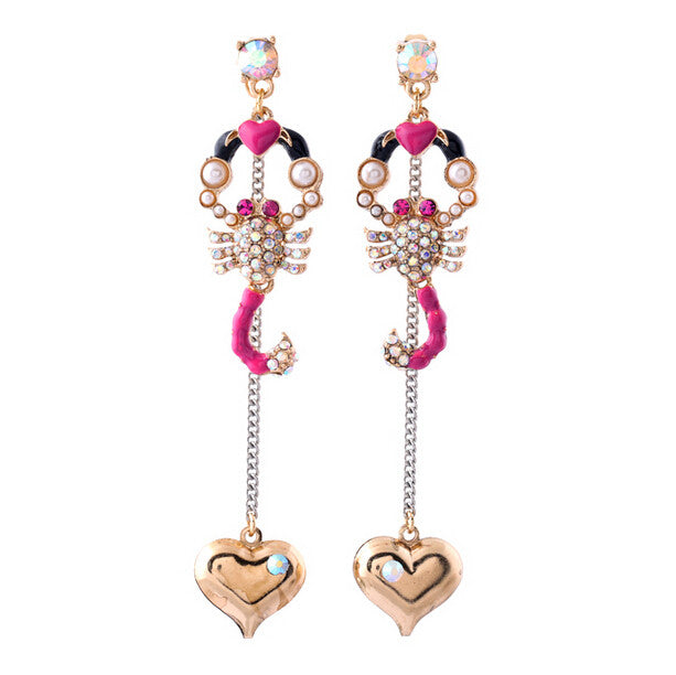 New Arrival Fashion Jewelry Chraming Rhinestone Scorpion Stud Earrings