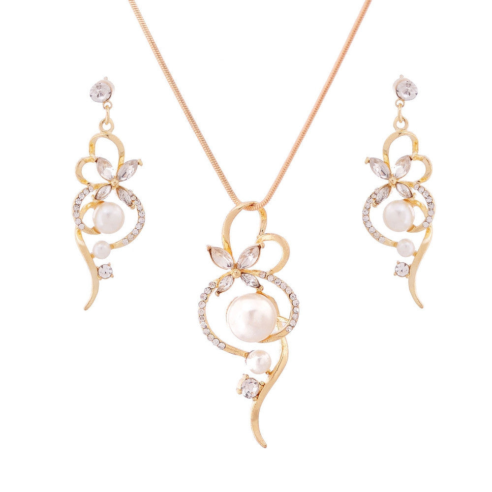 Trendy Jewelry Sets Gold Plated Jewelry Set Pendant Necklace Earrings Set For Women