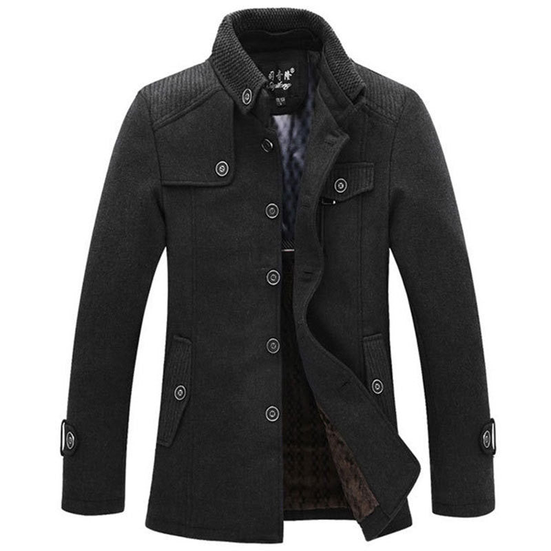 Casual long section of the stand-up collar men's windbreaker jacket thickened woolen coat