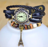 Eiffel Tower Pendant Bracelet Watches New Arrivals High Quality Women Genuine Leather Vintage wristwatches
