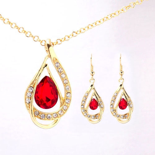 Wedding Jewelry 18k Yellow Gold Plated Sapphire Austrian Crystal Necklace+Earrings Jewelry Sets