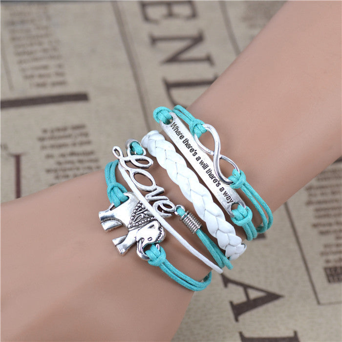 Male female Bracelets & bangles Infinity Elephant Love manual multilayer bracelets