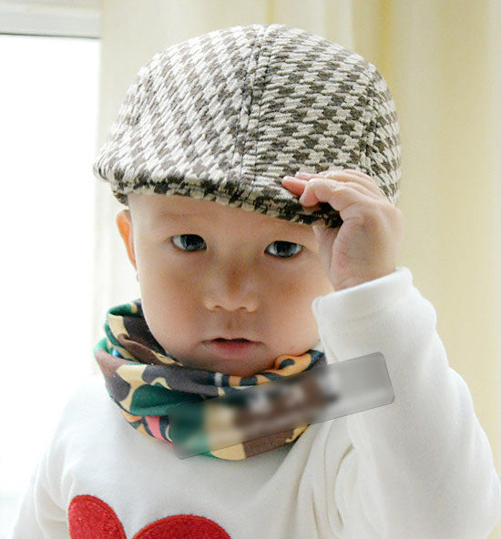 Spring and Autumn Kids Fashion Berets Plaid Hats For Baby Boy And Girl Hat Cap