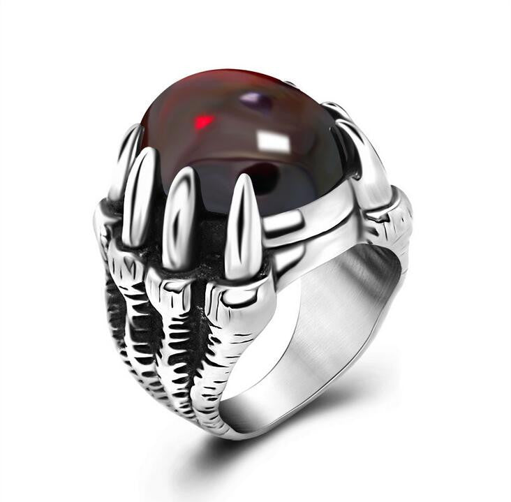Mens Rings With Big Black/Red Stone Carved Retro Vintage Dragon Claw Engraved Rings For Men