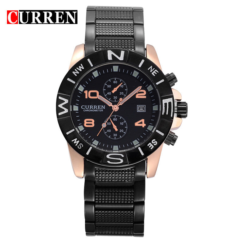 Full Steel Curren Brand Men Watch Fashion Casual Watch Men Date Analog Display Sport Quartz Wristwatches Relogio Masculino