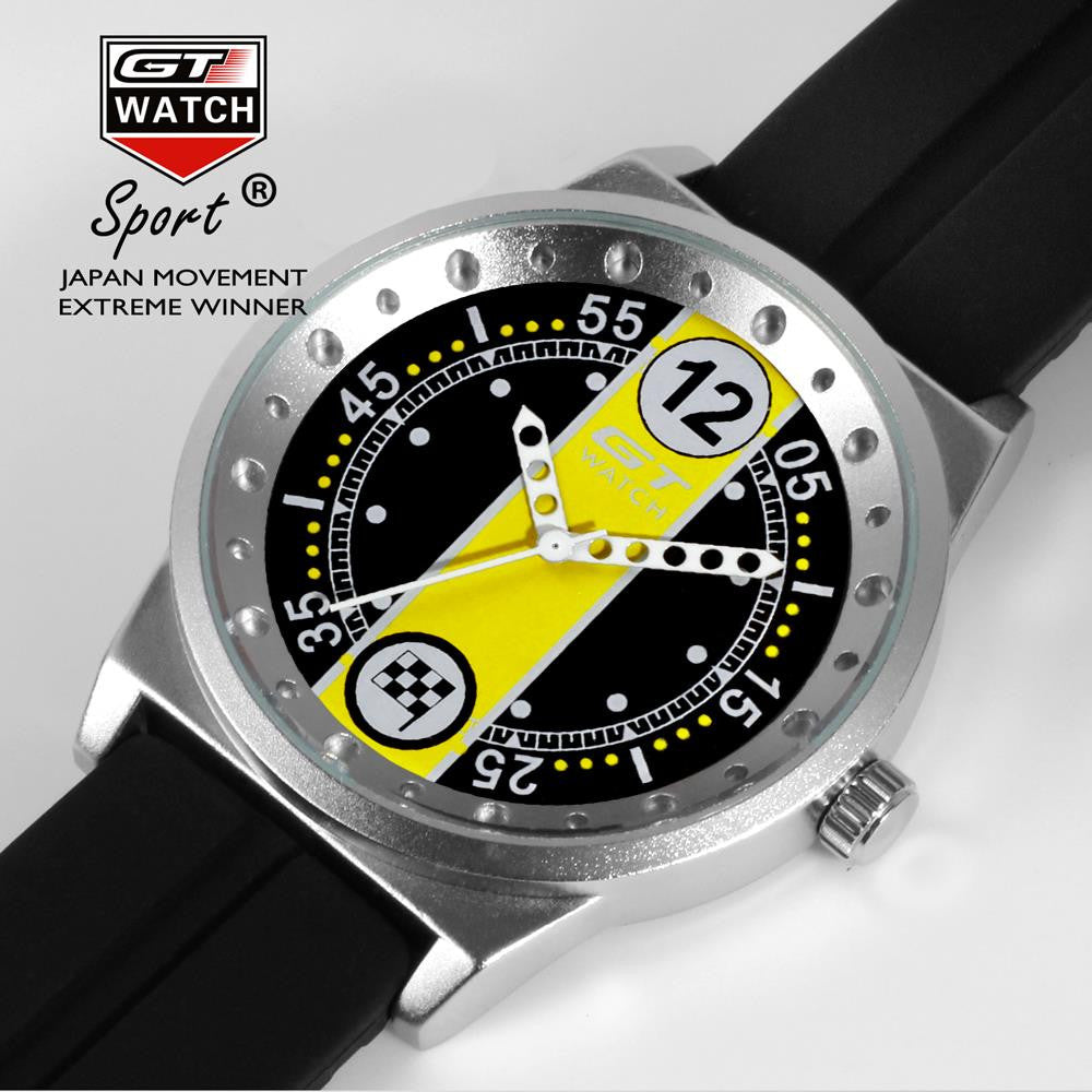 GT WATCH Extreme Flag Montres Yellow Dial Relojes Men's Fashion Style Wristwatch Unisex Silicone Strap Quartz Watch