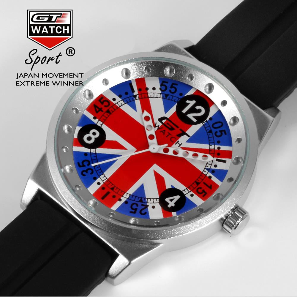 GT WATCH Union Jack Touring Car Racing Sports Men's Military Wristwatch Women Fashion British Style Campus Quartz Watch