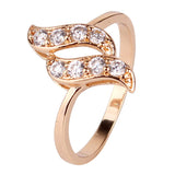 Fashion 18k Gold Plated Twisted FInger Ring for Women Snake Round White Austrian Crystal Zirconia Wedding Jewelry