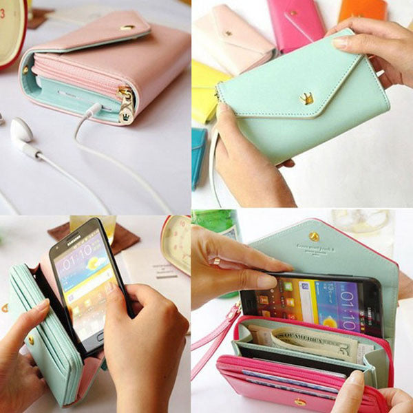General Use! Pouch Wallet PU Leather Case for iphone 5s, 4s, 6 4.7inch, 5C, for Samsung Galaxy S3 S4 S5 Cover Crown Card Slot