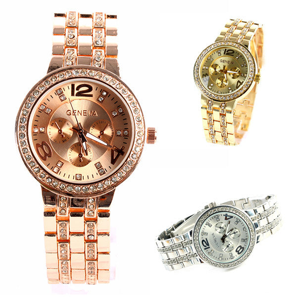 Geneva Bling Crystal Women Girl Unisex Stainless Steel Quartz Wrist Watch
