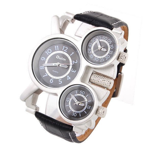 Genuine Leather Strap wristwatches OULM Sports Watch Multiple Time Zone quartz watches dive watch