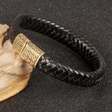 Genuine leather bracelet men stainless steel leather hand woven Bracelet magnetic buckle punk rock pulseiras masculina