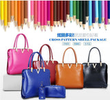 Genuine Leather Solid Purses+Shoulder +Handbag 3 PCS/Set Luxury Women Designer Handbags High Quality Sac a Main Composite Bag