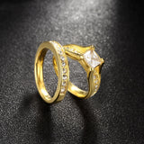 Geometric Design Male Female Yellow Gold Plated Wedding Ring Sets Stainless Steel Rings For Men And Women Jewelry
