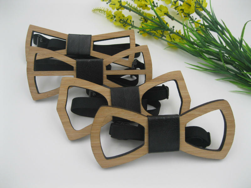 Geometric Design Wooden Bow tie European Man Accessory Laser Cutout Wood Hip Hop Bow Tie