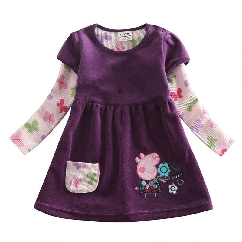 Girl winter dress children floral dress clothing for girls kids princess baby embroidery cartoon pig dress for girls