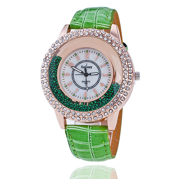 GoGoey Brand Watch Leather Strap Women Rhinestone Wristwatch Fashion Casual Women Quartz Watches Relogio Feminino Gift