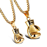 Gold/Black/Silver Plated Fashion Mini Boxing Glove Necklace Boxing Jewelry Stainless Steel Men Pendants Necklaces Jewelry
