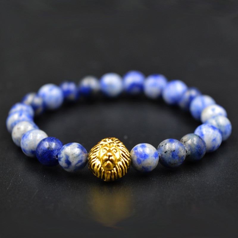 Gold Leo Lion Tiger Eye Beads Bracelets Bangles bijoux pulseras Rope Chain Natural Stone Volcanic Bracelets Women Men Jewelry