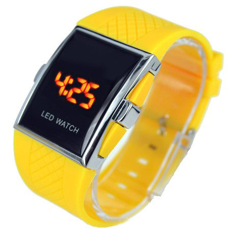 Luxury LED Digital Watch Red & Blue Light Optional Fashion For Men Women's Sports Stainless Steel Wristwatch