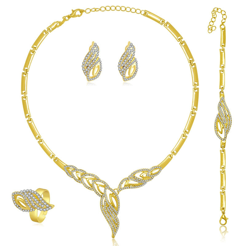 Gold Plated Fine Jewelry Set For Women Beads Collar Necklace Earrings Bracelet Rings Sets Costume Latest Fashion Accessories