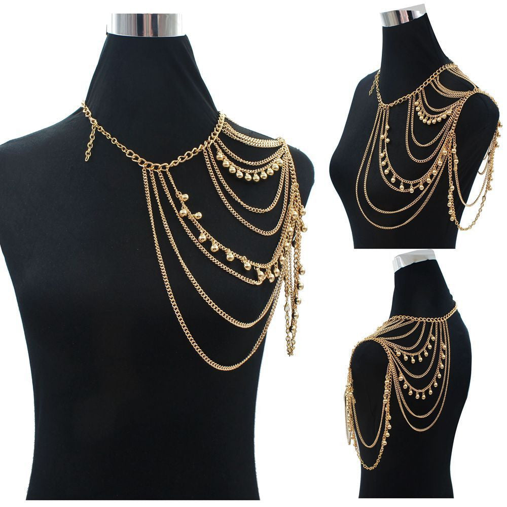 Gold Sexy Shoulder Body Chain Necklace Women Multi Layered Body Accessories Shoulders Fashion Jewelry