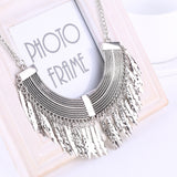 Gold Silver Gray 3 Colors Tassel Necklace Collier Femme High Quality Vintage Jewelry Statement Chokers Necklace Pendants