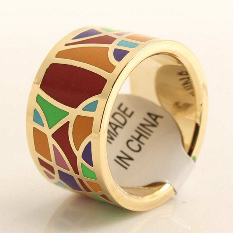 Gold Plated Elegant 1.3cm Width Amazing Geometry Pattern Colorful Shining Enamel Rings Jewelry