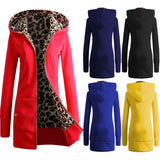 Good Quality Winter Warm Fashion Women Lady Long Sleeve Hoodies Sweatshirt Slim Fit Leopard Coat Jacket Outerwear