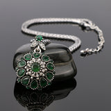 Gorgeous Bohemia Vintage Jewelry Fashion Resin Silver -Plated Women For Pendant Long Necklace Crystal Gifts