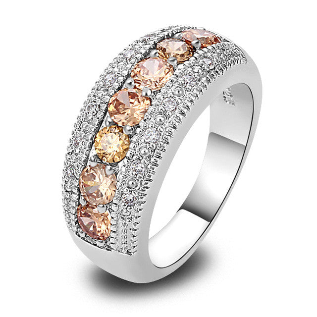 Gorgeous Round Cut Morganite & White Topaz Silver Ring Women's Fashion Party Gift