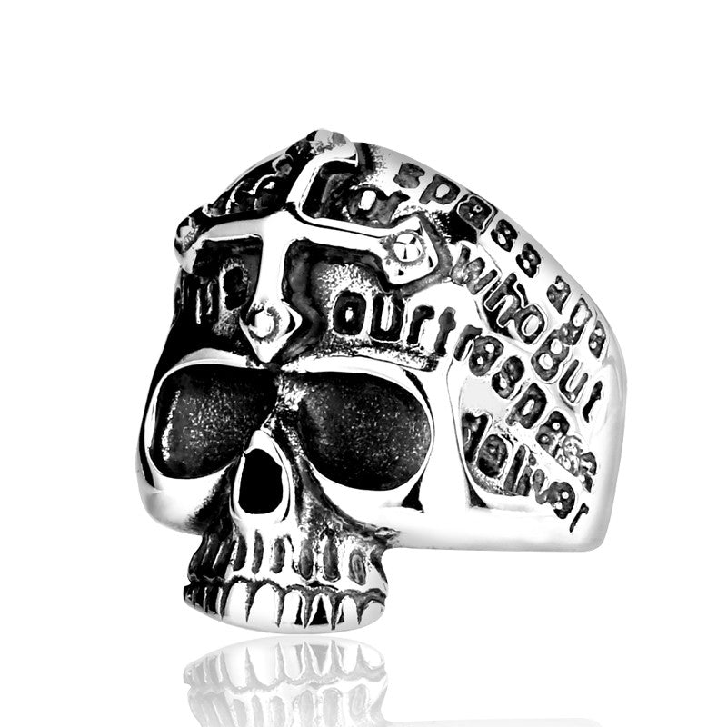 Gothic Men's Biker Cross Demon Skull Skeleton White & Gold Ring Man Personality 316L Stainless Steel Fashion Jewelry