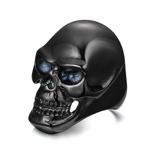 Gothic Men's Biker Titanium Steel Ring Fashion Black Skull Cool Man Finger Rings