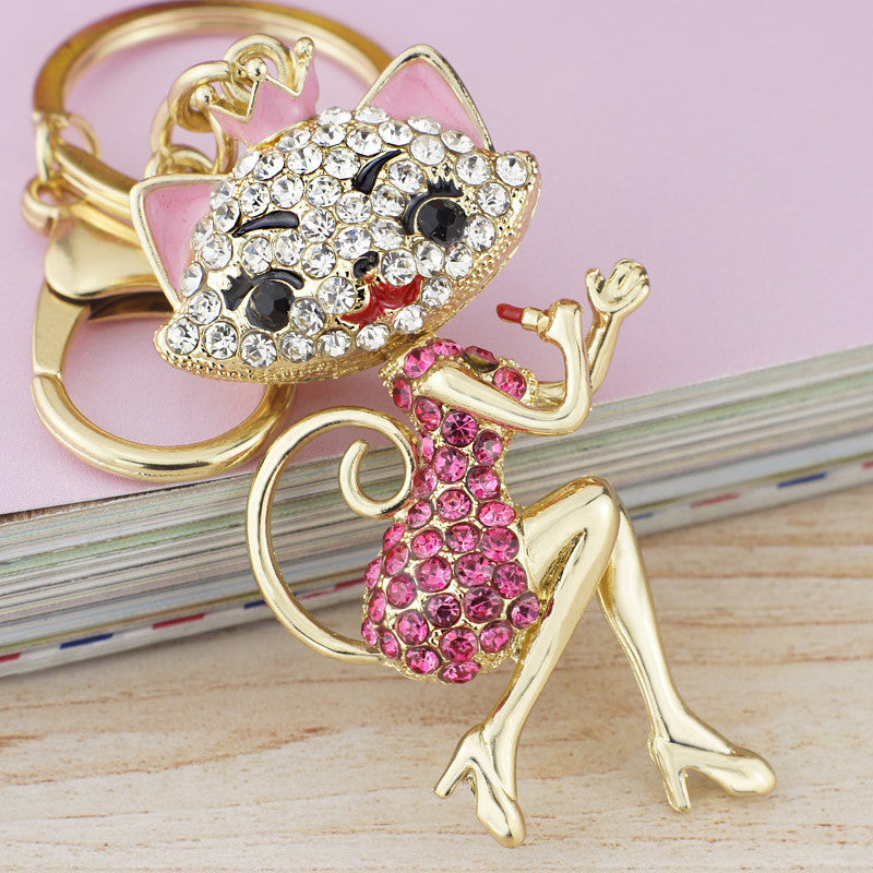 Grace Crown Lipstick Cat Lady Crystal HandBag Pendant Keyring Keychain For Car key holder