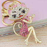 Grace Crown Lipstick Cat Lady Crystal HandBag Pendant Keyrings Keychains For Car key Chains holder for women