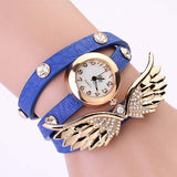 New women vintage leather strap watches,set auger angel wings rivet bracelet women dress watch wristwatch