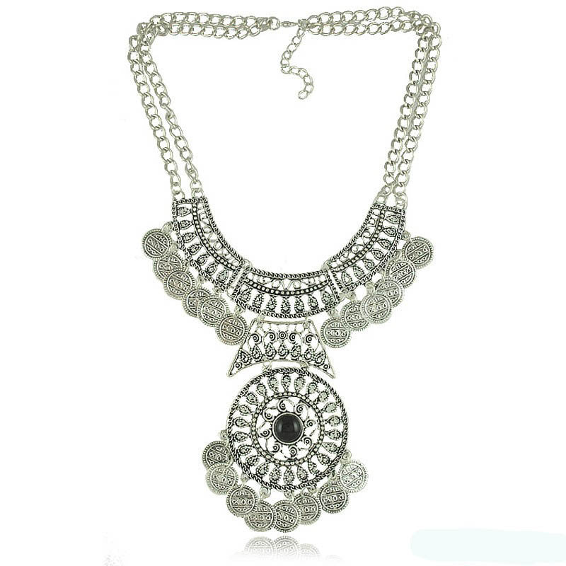 Gypsy Bohemian Vintage Silver Plated Coin Turkish Beachy Bib Statement Necklace Women Necklaces & Pendants Jewelry Colar