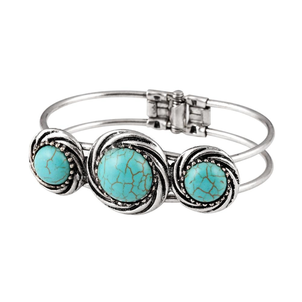 Gypsy Tibetan Silver Round Turquoise Bracelet Bangle Watch Band Vintage Retro Jewelry Gift For Women brazalete Accessory