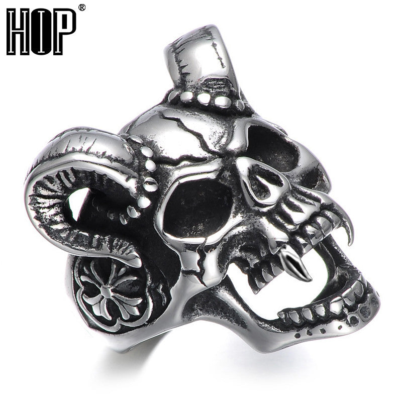 Punk Gothic Titanium Stainless Steel Casting Evil Damn Skull Vampire Goat Ring for Men Jewelry