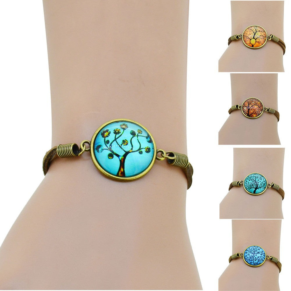HOT life tree glass Cabochons Bracelet Bangle antique Brown Charms bracelet Wonderful Gift Lobster Clasp women bracelet fashion